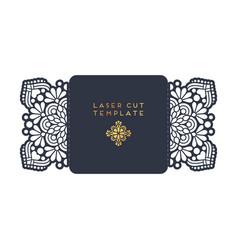 wedding card laser cut template vintage vector image vector image