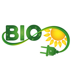 bio symbol with electric plug and sun vector image