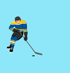 cartoon of a hockey player vector image