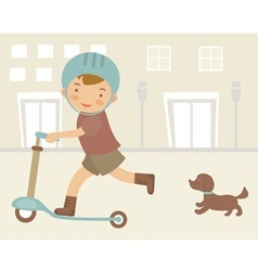 Little boy on scooter vector