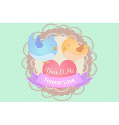 pastel cute blue and yellow love birds with heart vector image vector image