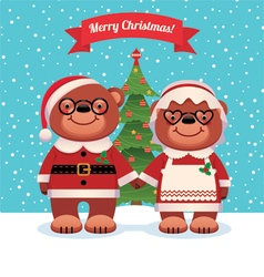 Santa Claus and his wife bears Christmas vector image