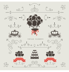 Set of vintage elements wedding invitation vector image vector image