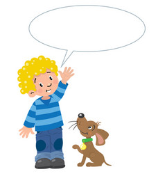boy and puppyn with balloon for text vector image vector image