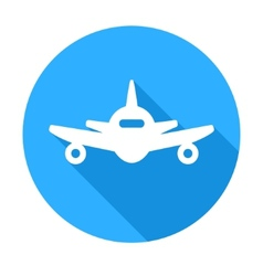 Flat long shadow air plane icon vector image vector image