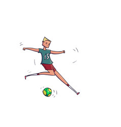 hand drawn cartoon running soccer player with ball vector image