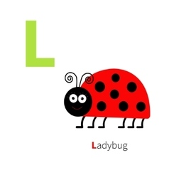 Letter L Ladybug Zoo alphabet English abc with vector image vector image
