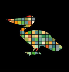 pelican bird mosaic color silhouette animal vector image