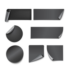 Set of black paper stickers vector