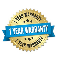 1 year warranty 3d gold badge with blue ribbon vector image