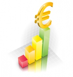 3d euro chart vector image
