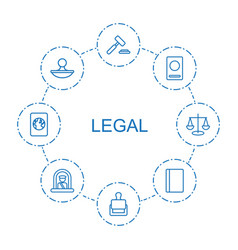 8 legal icons vector