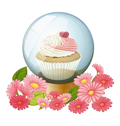 A cupcake inside the transparent ball vector