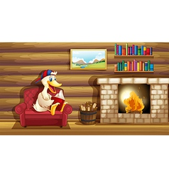 A duck reading a book near the fireplace vector