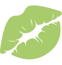 A green kiss mark vector