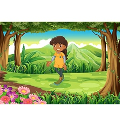 A tan girl at the forest vector