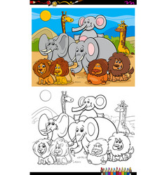 African animals characters group color book page vector