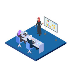 arab business woman presenting a business project vector image