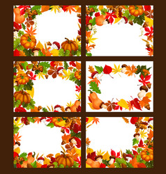 Autumn time leaf and harvest posters vector