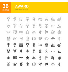 award line web glyph icons vector image