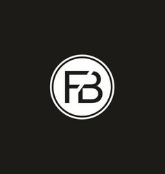 black white fb initial letter logo vector image