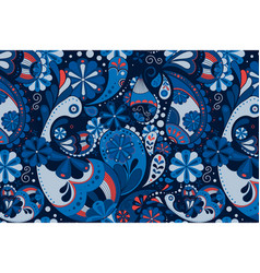 Blue paisley pattern background indian floral art vector