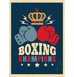 Boxing retro poster new crown vector