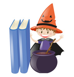 boy dressed up as witch mixing the brew vector image
