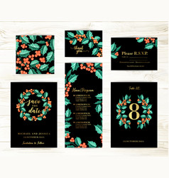 bundle save the date and rsvp invitation card vector image
