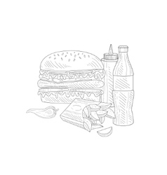 Burger Soda And Fries Fast Food Meal Hand Drawn vector