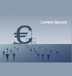 Business people group walking to big euro sign vector