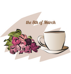 card with tulips and cup of coffee on march 8 th vector image