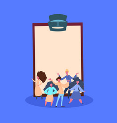 casual people group over empty clipboard standing vector image