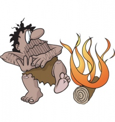 caveman with fire vector image