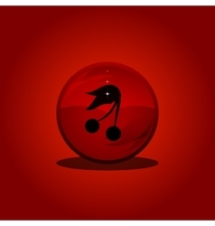 Cherry on red circle Button vector image