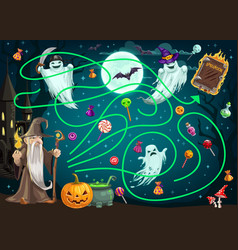 children search path game with halloween ghosts vector image