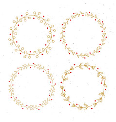 christmas wreath round frames set hand drawn vector image