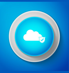 cloud and shield with check mark icon on blue vector image