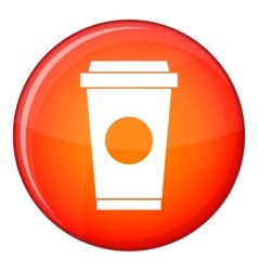 Coffee in take away cup icon flat style vector
