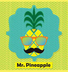 Colorful cool mr pinapple fruit emblem icon vector