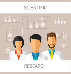 concept of scientific research with scientists in vector image