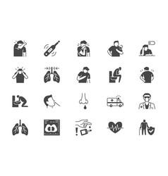 Coronavirus flue virus symptoms flat icons vector