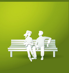 couple man and woman sitting on the bench vector image