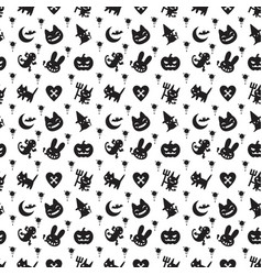 cute halloween pattern background with dark color vector image