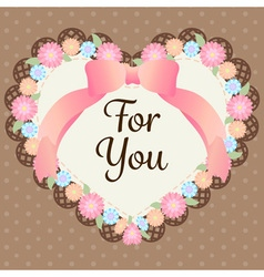 cute pastel flowers in heart shape with lace and vector image