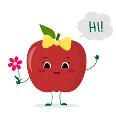 Cute red apple cartoon character with a pink bow vector