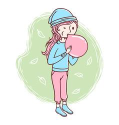 Cute woman blowing balloons vector