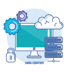 data center computer base system protection vector image