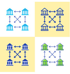 distributed ledger icon set in flat and line style vector image