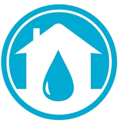 Drop on home icon vector